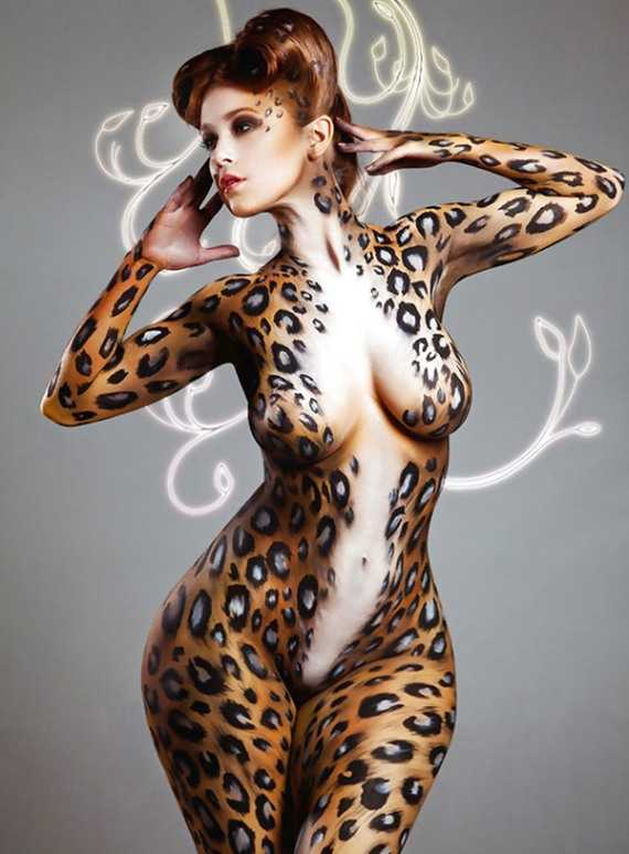 боди арт женщина кошка