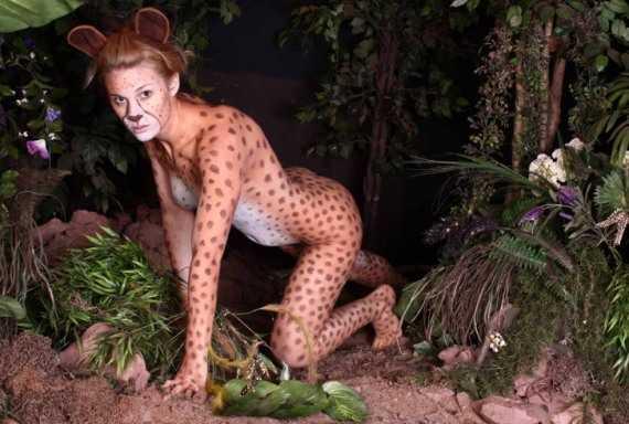 боди арт - женщина леопард