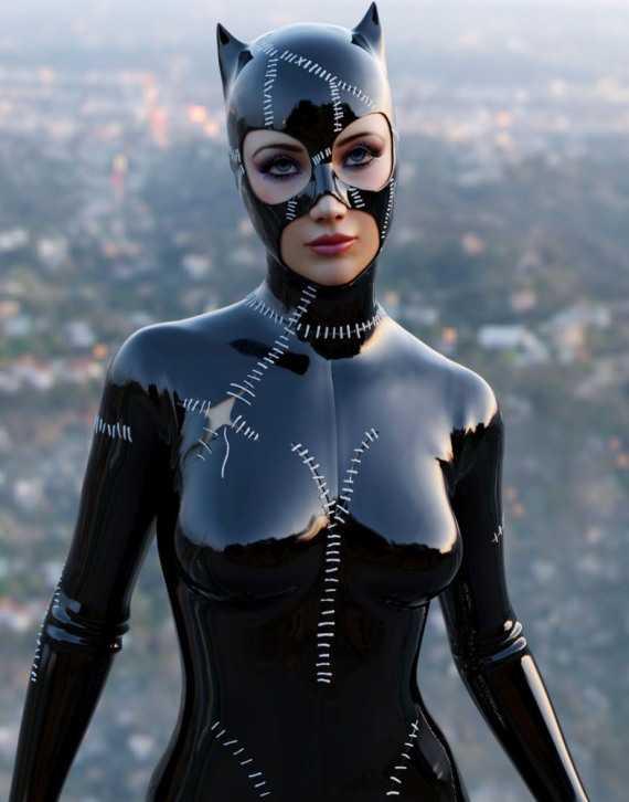 латекс костюм женщины кошки